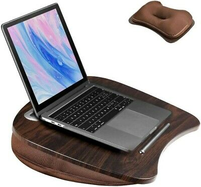 Portable Cushion Laptop Computer Table Homework Reading Lap Tray Desk Walnut • 19.99£