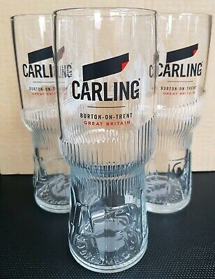 Three New Style M19 Edition CARLING Lager Beer Pint Glasses NEW - Home Bar - Pub • 8£