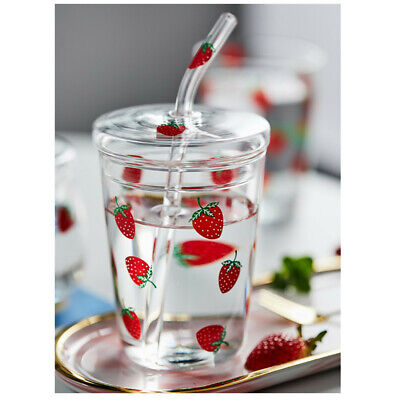 Water Glass Cup Cute Strawberry Pattern Coffee Glass Cup With A Straw And Lid • 13.11£