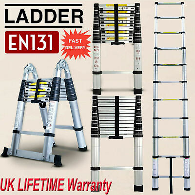 Extendable Telescopic Ladder DIY Tool 150KG Max Load Loft Aluminium Thick 3.8-5M • 8.88£