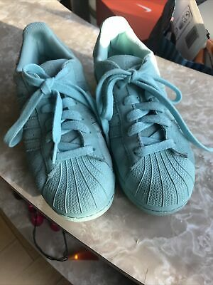 AU12.84 • Buy Adidas Superstar Trainers Turquoise Size 3.5 New