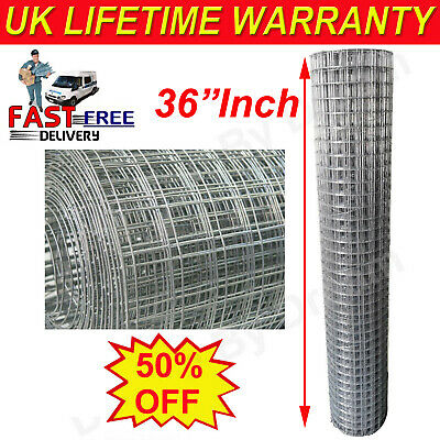 Cheap-Welded Wire Mesh Aviary Fencing Fence Chicken Rabbit Garden Galvanised 30M • 13.22£