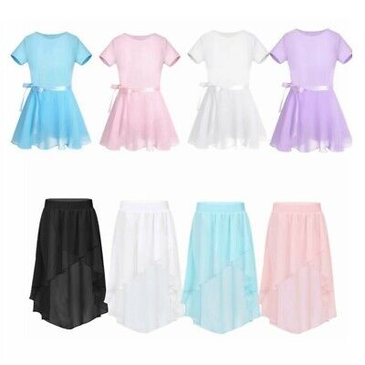 Kids Girls Chiffon Skirt High-Low Elastic Waistband Jazz Dance Dress Dancewear • 6.29£