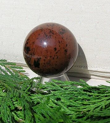 $19.80 • Buy Mahogany Obsidian Solid Crystal Sphere - 40mm Diameter Complete With Stand