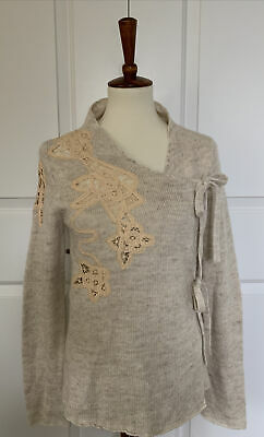 $ CDN43.87 • Buy ANTHROPOLOGIE/ MOTH Frosted Panes Ivory Cardigan Tie Sweater Sz M