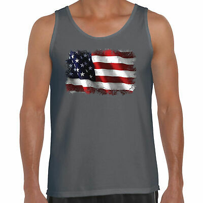 £11.99 • Buy Mens Hotrod 58 Muscle Vest Tank Top American USA Flag Stars And Stripes