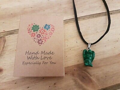 Mothers Day Angel Malachite Pendant Necklace 18' Carved Stone Reiki Healing Gift • 5.99£