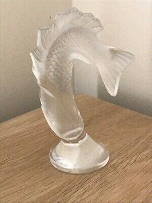 Vintage Lalique Goujon Leaping Fish Opalescent Paperweight • 275£