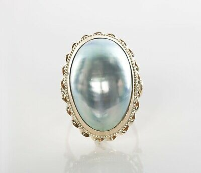 $276.25 • Buy Vintage Mabe Pearl Ring 14k Yellow Gold 6.3 Grams Size 6.5