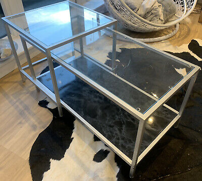 Set Of 2 Coffee Table Nesting Tables Glass And Metal Minimalist Industrial Unit • 9£