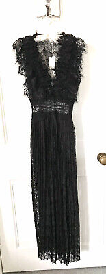 Zara Long Black V-Neck Lace Ruffled Sleeve Dress With Side Slit M BNWT RRP£59.95 • 39.99£