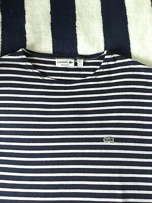 Mens Lacoste Blue & White Striped Long Sleeve T Shirt In Size 5, Large • 12.50£