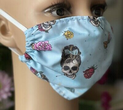 "£4 • Buy Handmade Face Covering Mask 100% Cotton Washable ""Audrey"" Gothic Rockabilly 💀🥀"