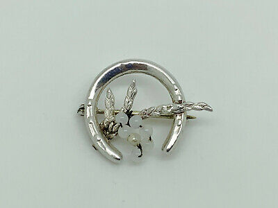 Gorgeous Vintage Ward Brothers Sterling Silver Horseshoe & Lucky Heather Brooch  • 14.99£