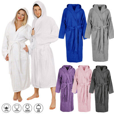 £14.99 • Buy Unisex Luxury Hooded Egyptian Cotton Bath Robe Terry Towelling Dressing Spa Gown