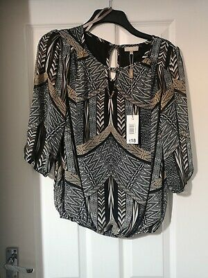 Ladies Matalan Black White And Gold 3/4 Sleeve Top Size 14 BNWT • 5£