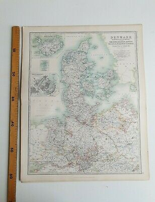 DENMARK Iceland Faroes 1898 Victorian Map Keith Johnston's Royal Atlas • 26£
