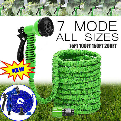 50-250 Feet Retractable Expandable Garden Hose Magic Pipe + Spray Gun Cold Water • 14.31£