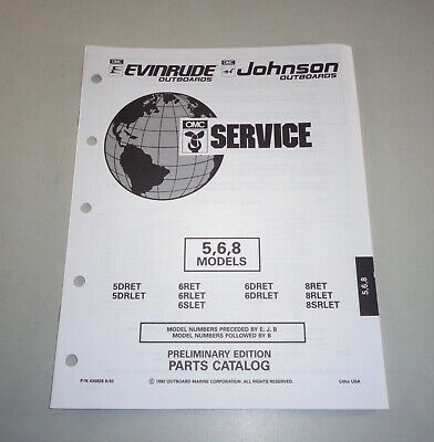 AU31.05 • Buy Parts Catalog Omc Johnson Evinrude Outboard Motor 5/6/8 Models Stand 08/1992