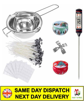 Candle Making Set DIY Candles Craft Tool Kit Pouring Melting Pot Wicks Wax Spoon • 21.99£