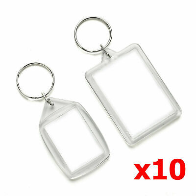 Blank Photo Keyrings Crafts Clear Plastic 10 Pack Acrylic 35 X 24mm • 2.49£