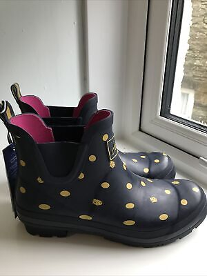 £38 • Buy Joules Womens Short Height Wellies Wellibobs Size 7 Colour Navy Ladybird