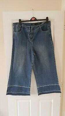 Simply Be Joss Stonewash Cropped Lace Up Wide Leg Jeans UK 20New With Tags • 5£