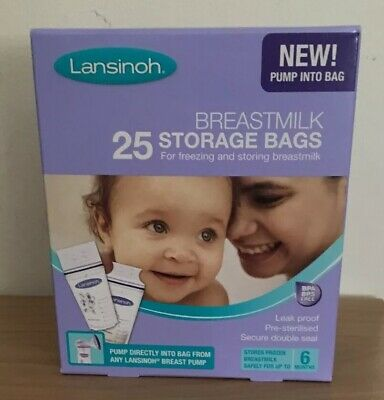 LANSINOH Breast Milk Storage Bags (New Pump Into Bag!) Box Of 25 BNIB • 4£