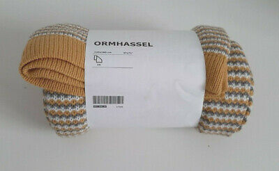 Ikea ORMHASSEL Thick Blanket/Throw. Mustard, Grey And White. 120x180 Cm • 25£
