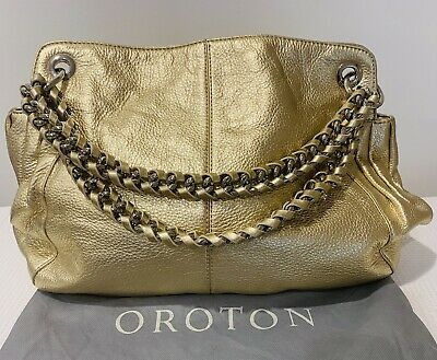 AU48 • Buy OROTON Gold Pebble Leather Bag With Dust Bag RRP $545.00 In Great Condition