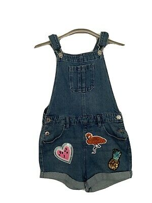 Girls Primark Age 9 - 10 Year Dungarees Blue Denim Playsuit Sequin Appliques • 9.99£