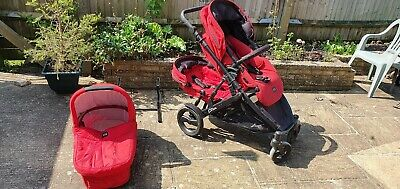 Britax B-Dual Double Buggy+carry Cot In Red • 90£