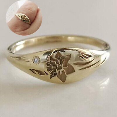 AU1.42 • Buy Exquisite Women Diamond Carved Lotus Flower Band Rings Anniversary Gift SZ 5 -10