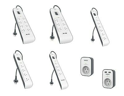 AU59.99 • Buy Belkin Surge Protector Powerboard Outlet Safeguard | 1 4 6 8 Outlets / USB Ports