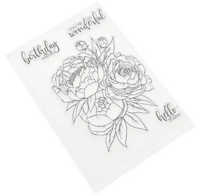 Peony Flower/birthday Clear Stamps/words-sentiments/hello/greeting/silicone • 6£