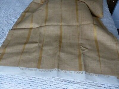 Fabric Curtain Furnishing Loose Weave In Old Gold With Gold Stripe ?linen • 2£