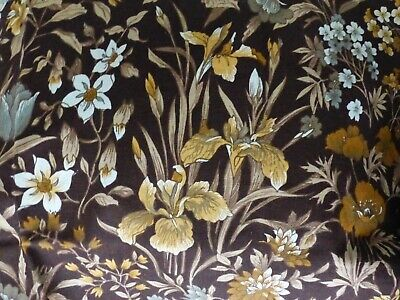 Fabric Curtain Furnishing Cotton Offcut Possibly Sanderson Brown Floral • 1£