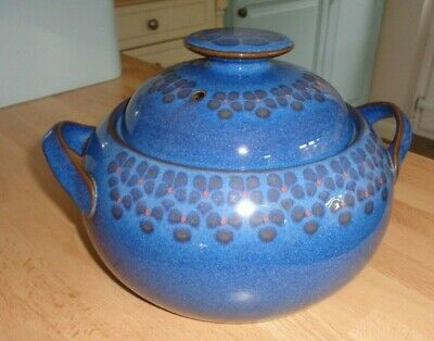 Denby Twin Handled Midnight Casserole Oven Proof Pot Stoneware Dish With Lid GC • 15£