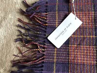 New Johnstons Of Elgin Lambswool Long Scarf - Purple Tarten. Made In Scotland. • 9.50£