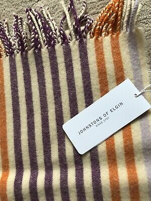 New Johnstons Of Elgin Lambswool Long Scarf - Stripes. Made In Scotland. • 9.50£