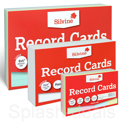 £3.19 • Buy Silvine Revision Index Flash Record Cards - Plain Ruled Colours - Packs Of 100