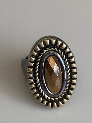 $ CDN14.56 • Buy LIA SOPHIA SABLE RING SIZE 6 Oval Brown Glass Facetted Stone Gold Silver Tone