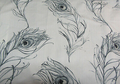 4 Large Pieces Of Furnishing Fabric. Grey Peacock Feathers. 100% Cotton. Pietra • 3.50£