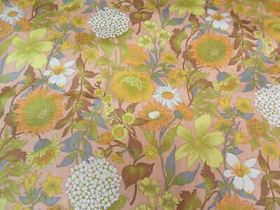 Remnant Of Genuine 1970s-1980s Multicoloured Vintage Floral Furnishing Fabric  • 4.20£