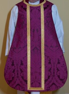 £350 • Buy Roman Purple Priest's Vestment - Chasuble - Spanish Style With Matching Stole