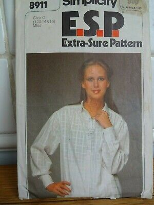 Vintage 1979 Simplicity Pattern For Ladies Shirt Size 12-14-16 • 4£