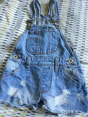 USED - Girls' BlueZoo Light Blue Distressed Denim Short Dungarees Age 3-4 Years • 1.89£