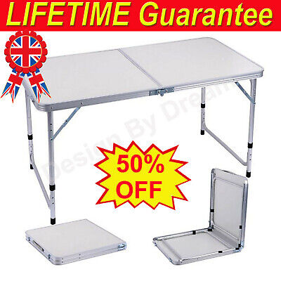 £24.70 • Buy New 4ft Folding Camping Table Aluminium Picnic Portable Adjustable Party Outdoor