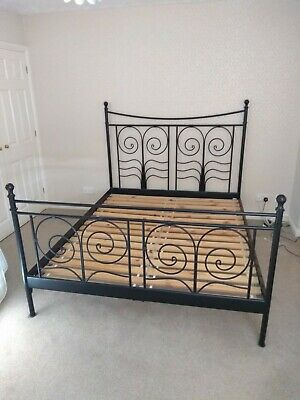 King Size Metal Ikea Noresund Black Bed Frame - Good Condition • 80£