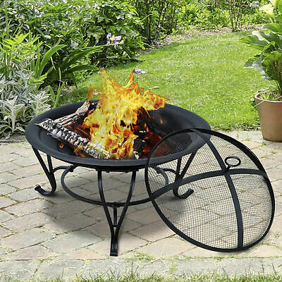 Outsunny Outdoor Fire Pit Wood Log Burning Heater Garden Stove Patio Brazier • 67.99£